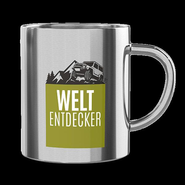 "Edelstahl Thermobecher ""Weltentdecker"""