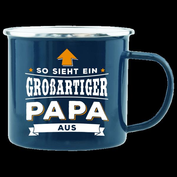 """Emaille-Becher """"Großartiger Papa"""""""